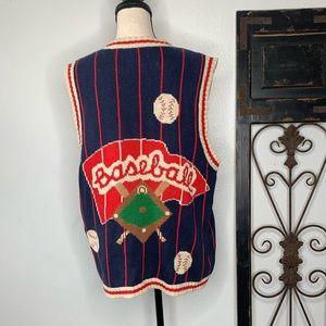 Vintage baseball knit vest Sz xl